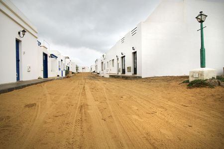 View of an empty street in Isla Graciosa, Canary Islands