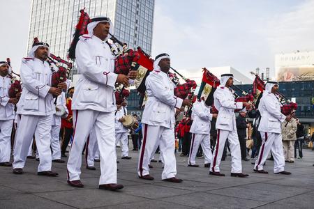 Abu Dhabi Police Band on Alexanderplatz square, Berlin Germany