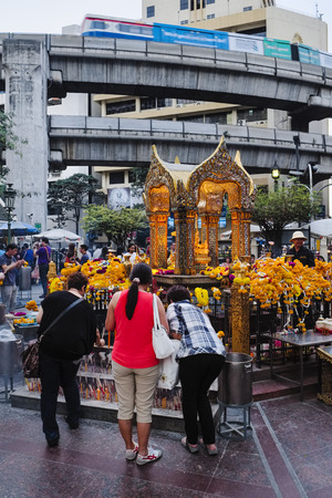 Erawan Shrine at Ratchaprasong intersection, Bangkok, Thailand, Asia