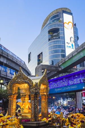 Erawan Shrine at Ratchaprasong intersection, Bangkok, Thailand, Asia