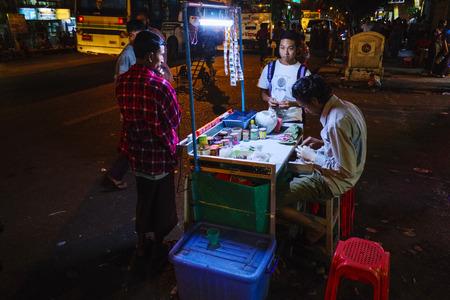 Street market, Yangon, Myanmar, Asia