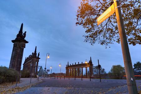Sign post from the Berlin Wall to the Glienicker bridge bridge, Potsdam, Brandenburg, Germany