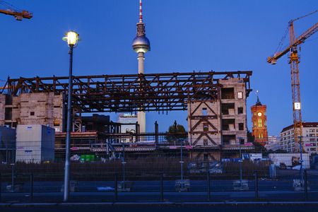 Pulling down of Palace of the republic, Berlin, Germany