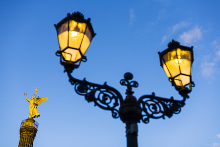 Historic street light in front of Siegessaeule Victory Column, Berlin, Germany