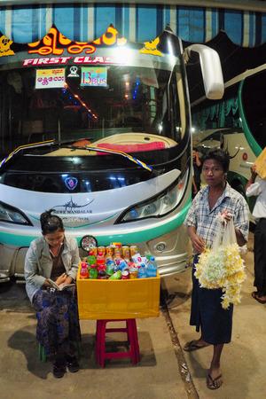 Street vendors at bus station, Yangon, Myanmar, Asia