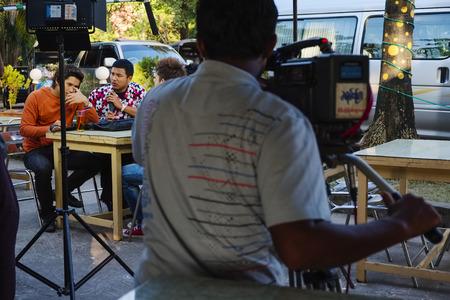 Film crew in Yangon, Myanmar, Asia