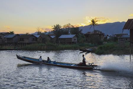 Longboat on canal to Inle Lake, Nyaung Shwe, Shan-State, Myanmar