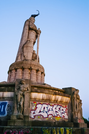 Sculpture of an Alpine Ibex on Bismarck monument, Hamburg, Germany