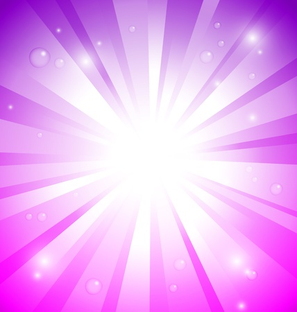 Sunburst on pink and purple background with water drops