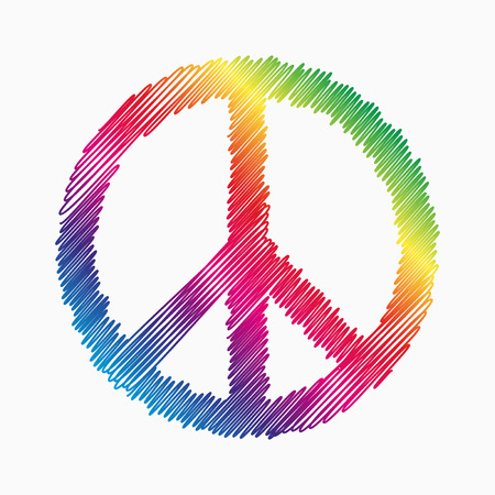 Illustration for Doodle Peace symbol with rainbow fill - Royalty Free Image