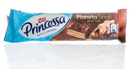Winneconne, WI -  28 April 2019: A package of Nestle princessa salty caramel planeta singli wafer bar on an isolated background