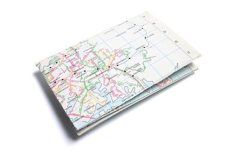 Folded Street Map on Isolated White Background