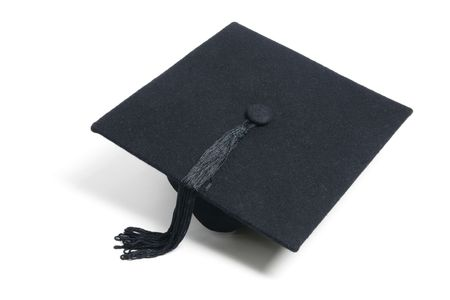 Mortarboard on Isolated White Background