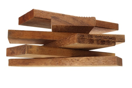 Stack of Wooden Planks on White Background