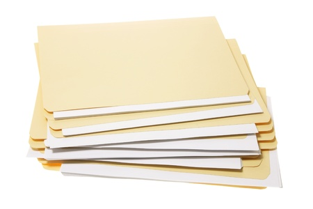 Stack of Manila Folders on White Background