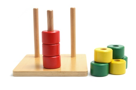 Photo pour Wooden Stack and Sort Toy on White Background - image libre de droit