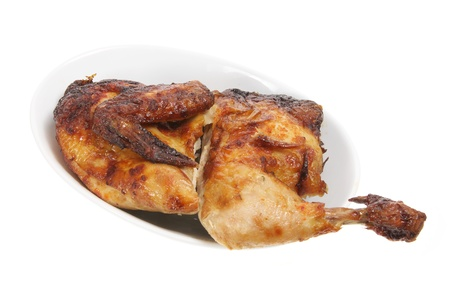 Roast Chicken on Dish with White Background