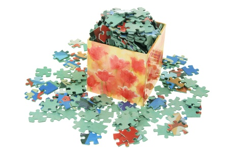 Jigsaw Puzzle Pieces on White Background