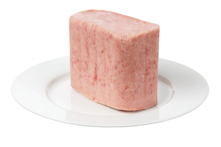 Luncheon Meat on Plate on White Background