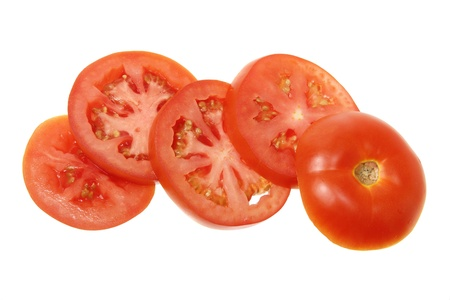 Slices of Tomato on White Background