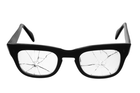 Broken Eyeglasses on White Background