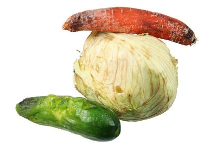 Rotten Vegetables on White