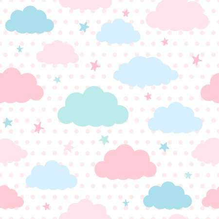 Children seamless pattern with blue and pink clouds and stars in sky on a polka dots background
