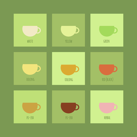 Set of icons with cups of chinese and herbal tea. Vector isolated elements