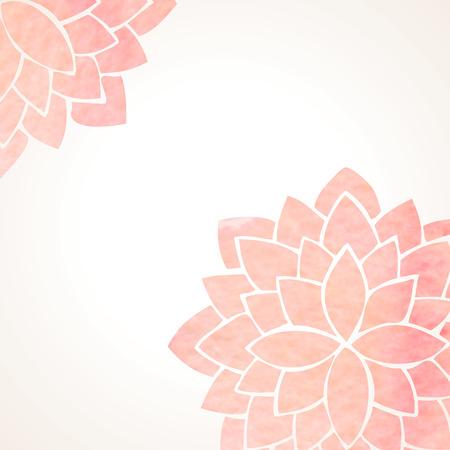 Foto de Watercolor pink lotus flowers. Hand drawing floral ornament on white background. Oriental pattern. Vector illustration - Imagen libre de derechos