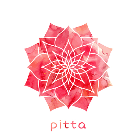 Illustration for Pitta dosha abstract symbol with watercolor texture in vector. Ayurvedic body type - Royalty Free Image