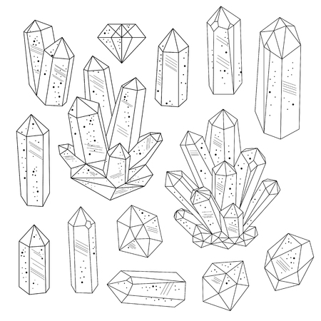 Illustration pour Set of crystals gemstones in black and white. Line art style. Isolated objects. Vector illustration. - image libre de droit