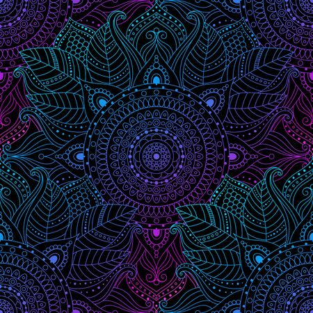 Illustration pour Seamless oriental arabesque pattern. Laced decorative floral pattern with circular ornament, gradient mandala on black background. Mosaic tiles boho, ethnic design in vector, Indian or Arabic motifs. - image libre de droit