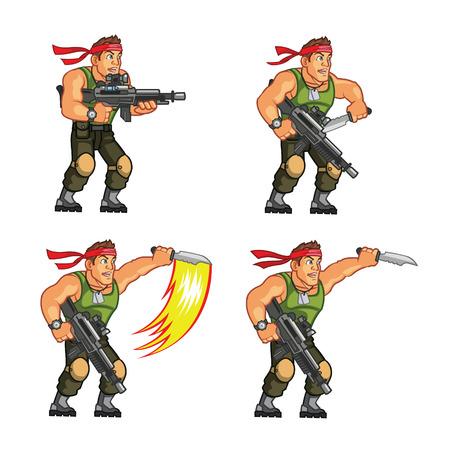 Illustration pour Commando Game Sprite - image libre de droit
