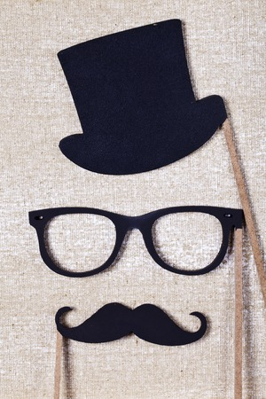 Photo pour a wedding props mustache and glasses - image libre de droit