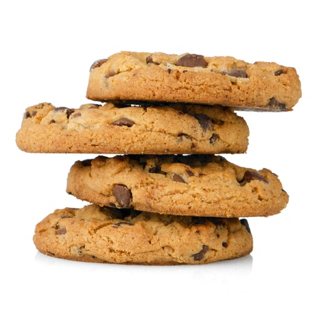 Stack of chocolate cookies isolated on white background.