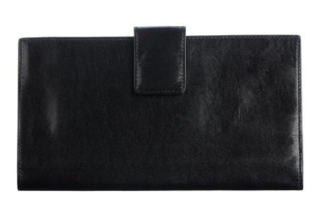 Black leather purse isolated on white background.