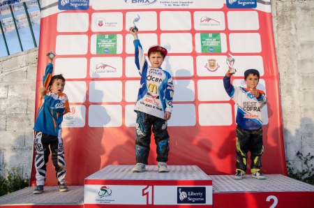 CASTELO BRANCO, PORTUGAL - MAY 4: from left, G.Cruz, B.Alves and G.Campos  at the 2nd stage of the Portuguese BMX race Cup the  on may 4, 2013 in Castelo Branco, Portugal.