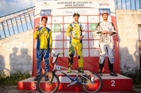CASTELO BRANCO, PORTUGAL - MAY 4: P.Domingos, L.Sousa and B.Berto at the 2nd stage of the Portuguese BMX race Cup the  on may 4, 2013 in Castelo Branco, Portugal.