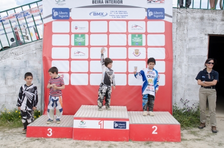 CASTELO BRANCO, PORTUGAL - MAY 5: Pupils Podium at the 3rd stage of the Luso-Spanish BMX race Trophy the  on may 5, 2013 in Castelo Branco, Portugal.