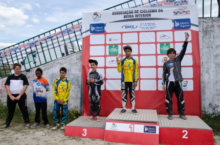 CASTELO BRANCO, PORTUGAL - MAY 5: Infantis podium at the 3rd stage of the Luso-Spanish BMX race Trophy the  on may 5, 2013 in Castelo Branco, Portugal.