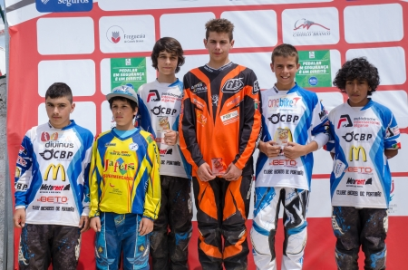 CASTELO BRANCO, PORTUGAL - MAY 5: Juvenis podium at the 3rd stage of the Luso-Spanish BMX race Trophy the  on may 5, 2013 in Castelo Branco, Portugal.
