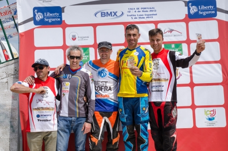CASTELO BRANCO, PORTUGAL - MAY 5: Masters podium at the 3rd stage of the Luso-Spanish BMX race Trophy the  on may 5, 2013 in Castelo Branco, Portugal.