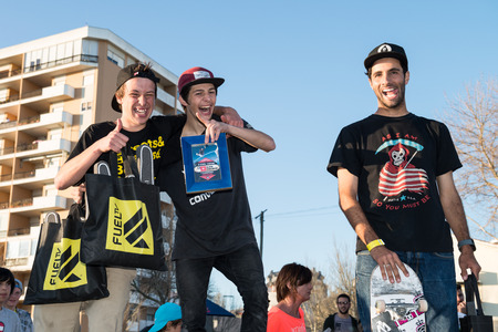 CASCAIS, PORTUGAL - APRIL 6 2014  From left Jorge Simoes, Bruno Senra and Joao Santos during the 4th Stage of the DC Skate Challenge by Fuel TV