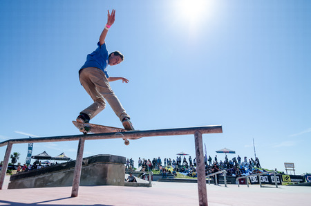 CASCAIS, PORTUGAL - APRIL 6 2014  Gustavo Ribeiro during the 4th Stage of the DC Skate Challenge by Fuel TV