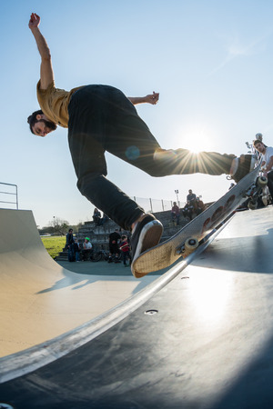 MURTOSA, PORTUGAL - FEBRUARY 19, 2017: Joao Viola during  the Murtosa's Skate Park Opening event.