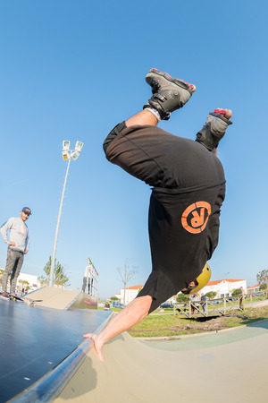 MURTOSA, PORTUGAL - FEBRUARY 19, 2017: Unidentified rider during  the Murtosa's Skate Park Opening event.