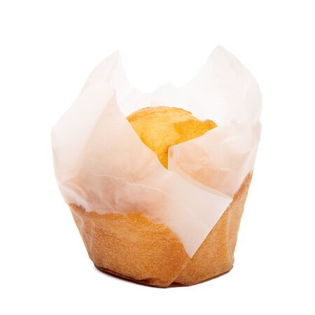 Photo pour Closeup of a Magdalena Typical Spanish Plain Muffin. Sweet Food or Dessert. Fresh Baked Muffin Isolated on White Background in American Style. Irresistible Tasty Cake. - image libre de droit