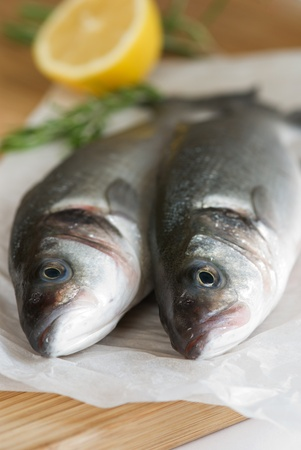 Two fresh sea bass with lemon and rosemary