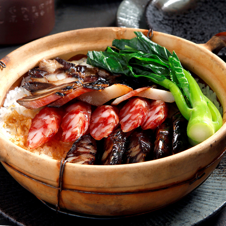 cantonese food, Chinese sausage and chicken with rice in clay pot