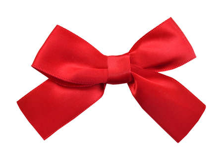 Photo pour Red satin gift bow. Ribbon. Isolated on white - image libre de droit